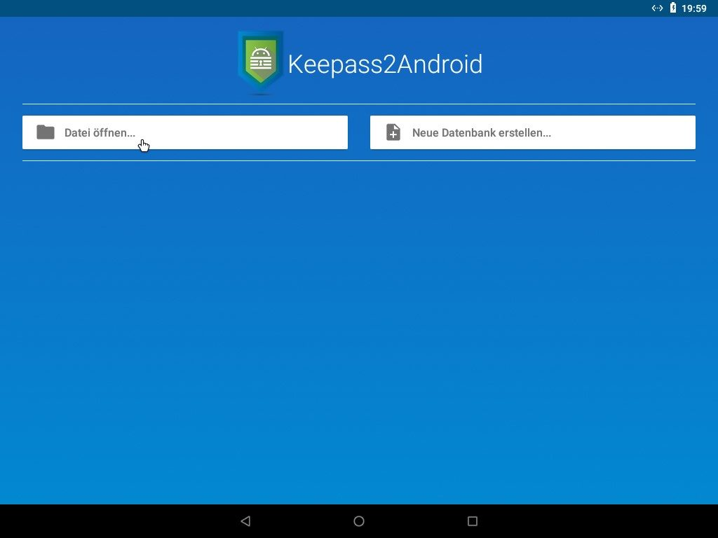 Der Willkommensbildschirm der App Keepass2Android